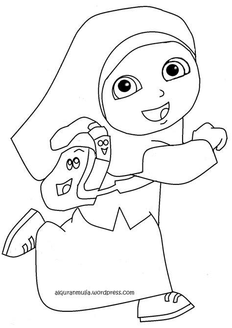 gambar mewarnai anak muslim