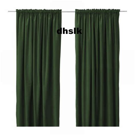 ikea sanela curtains drapes 2 panels green velvet 118