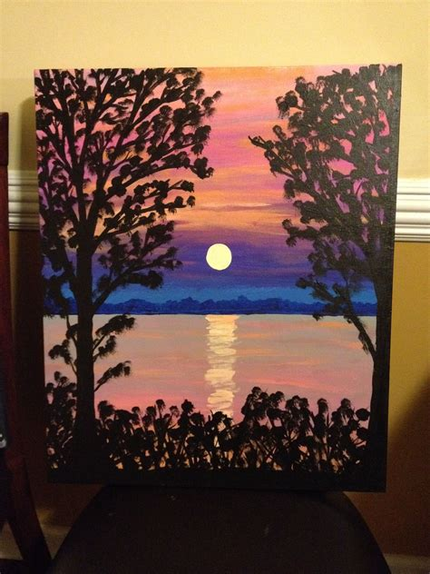 Canvas Painting Sunset On The Water  My Paintings