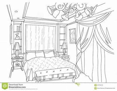 Interior Bedroom Sketch Living Contemporary Doodles Draw