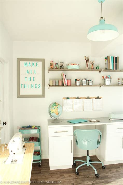 White & Aqua Craft Room Tour  Office + Craft Space Ideas