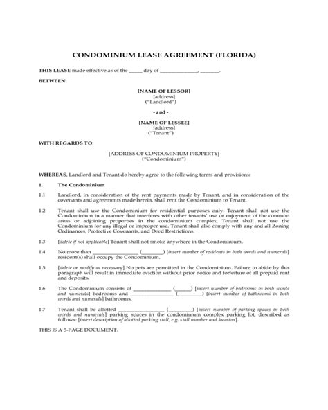 condo lease agreement fillable printable