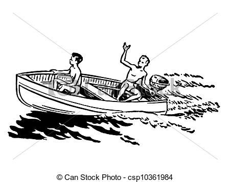 Boat Ride Drawing by Stock Illustration Of A Black And White Version Of Two