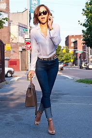 Blue Jeans White Blouse Outfit