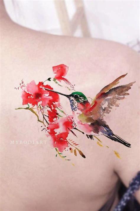 beautiful pink watercolor hummingbird floral flower