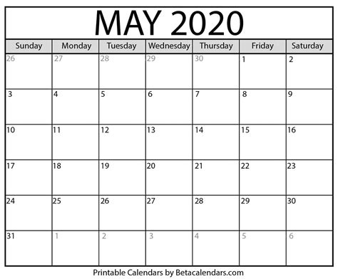 blank calendar printable beta calendars