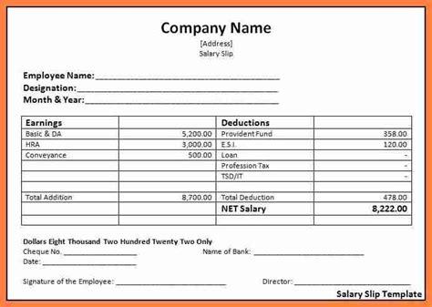 basic payslip template word salary slip