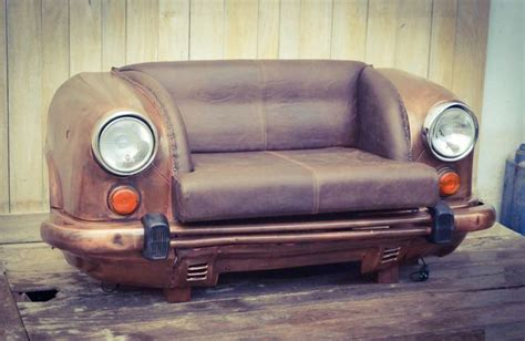 Old Hindustan Ambassador Upcycled Into Vintage Car Sofa