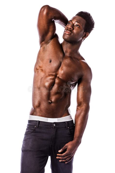 strong black athletic young man stock photo image