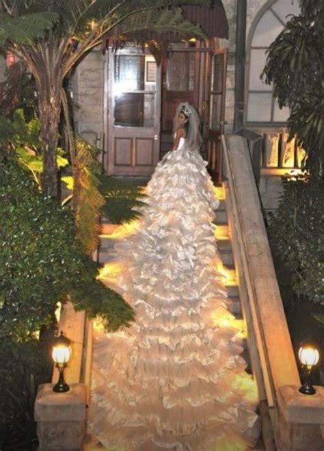 longest wedding dress train     white