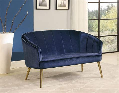 Blue Velvet Settee by Blue Velvet Settee By Coaster Furniture Furniturepick