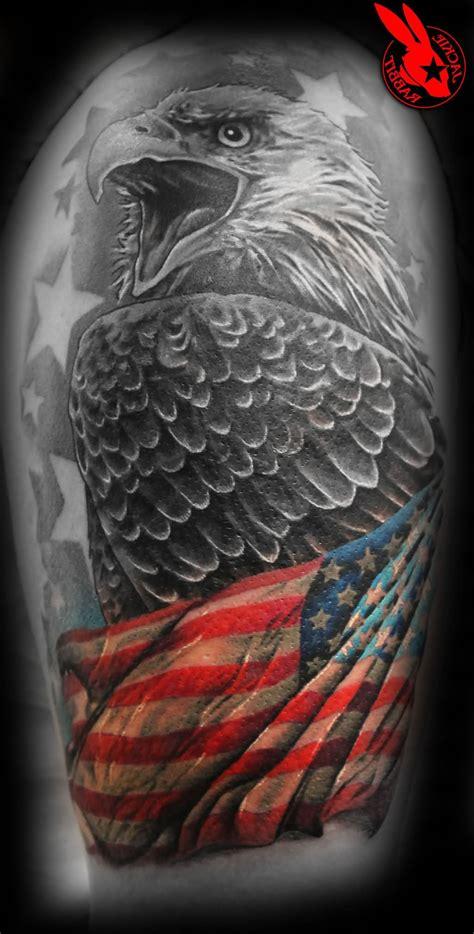 bald eagle  american flag tattoos designs