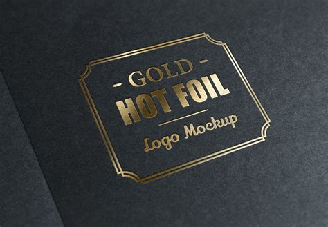 gold stamping logo mockup graphicburger