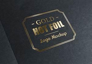 Gold, Stamping, Logo, Mockup