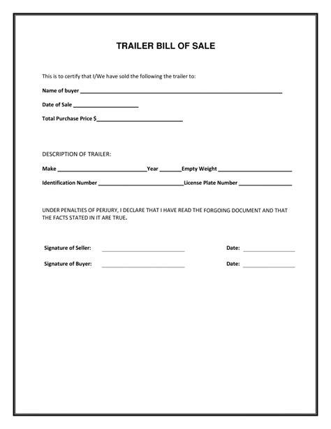 trailer bill  sale form  template form