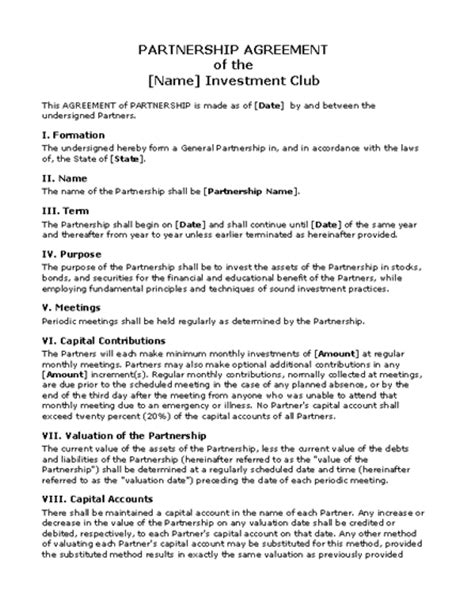 Joint Venture Term Sheet Template Partnership Agreement Sle Free Printable Documents