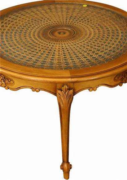 Coffee Table Country French Round Glass Wicker