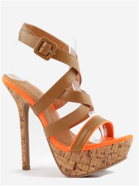 strappy cork platform sandal heels