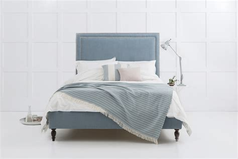 grey upholstered bed chrome studded high headboard upholstered bed
