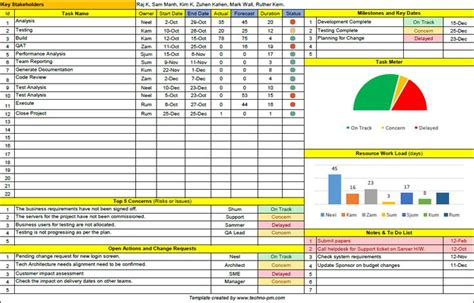 page project manager template excel project