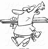 Coloring Cartoon Planks Carrying Vector Fencer Outlined Toonaday sketch template
