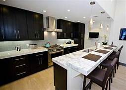 Kitchen Cabinets And Counters Espresso Shaker Kitchen Cabinet Italian White Carrara Marble Counter