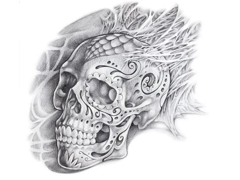 Collection Of 25+ Mexican Skull Tattoo Flash