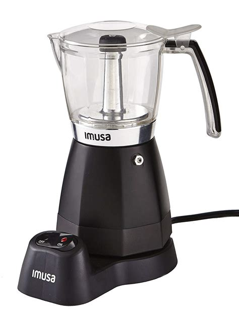 This stovetop espresso maker brews under a mild pressure, forcing hot water up from the base through ground coffee then into the top carafe in just minutes! IMUSA Electric Moka Coffee Maker - Coffee Like A Barista
