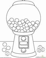 Gumball Machine Coloring Drawing Worksheets Gum Bubble Kindergarten Worksheet Crafts Preschool Sheets Education Candy Words Printable Learning Activities Craft Resultado sketch template