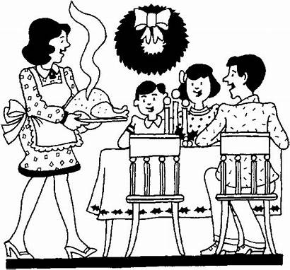 Dinner Coloring Christmas Drawing Activities Eat Families