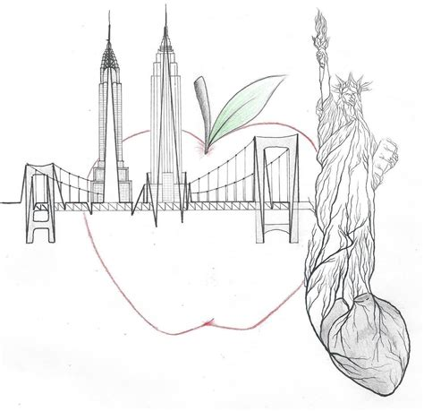New York City A Sharpie And Micron Pen Tattoo Design