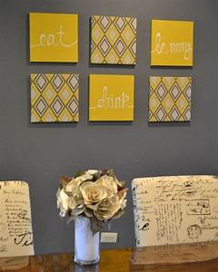 eat drink be merry yellow and gray wall art by With kitchen colors with white cabinets with how to make canvas wall art