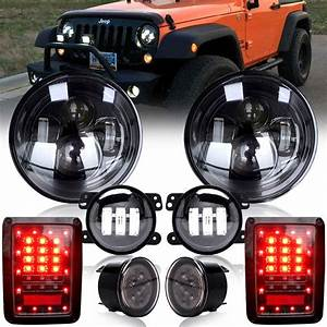 Dot Approved 7 Inch Round Projector Led Headlights Kit Hi  Lo Beam For 2007