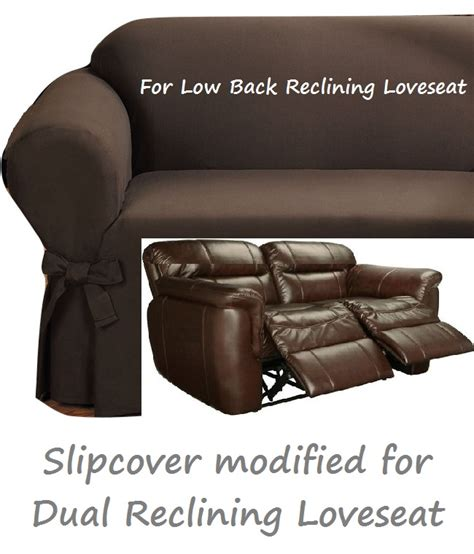 Dual Reclining Loveseat Slipcover by Dual Reclining Loveseat Slipcover Ribbed Texture Chocolate