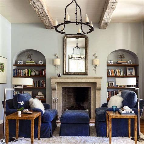bookshelves   sides  fireplace living room