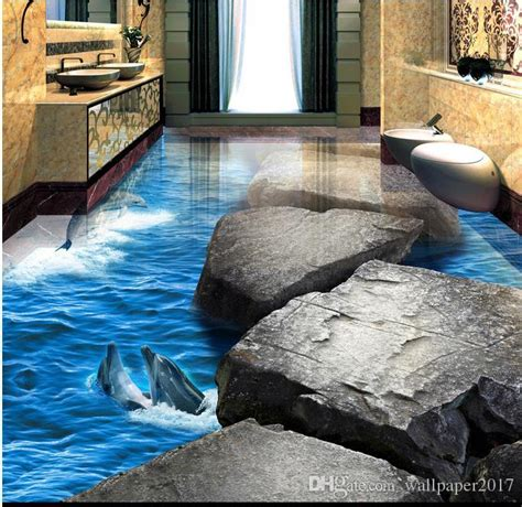 pvc vinyl flooring tiles stone road dolphin ocean world