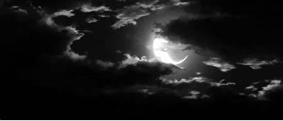 Moon Clouds Dark Night Stars Under Lonely