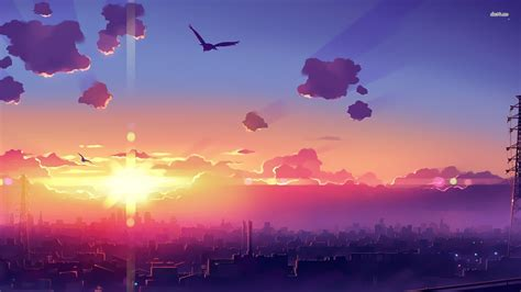 Anime Sunset Wallpaper - anime city wallpaper 183 free beautiful wallpapers