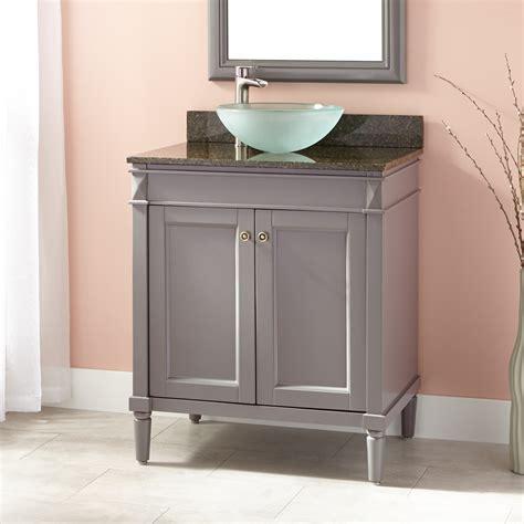 chapman vessel sink vanity gray bathroom