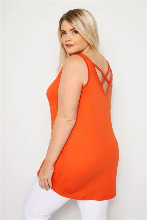 Plus Size Orange Cross Back Vest Sizes 16 To 36 Yours