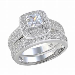 princess cut aaa cz halo setting 925 sterling silver With halo wedding rings for women