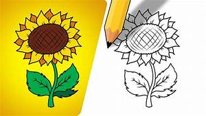 How To Draw Sunflower For Kids