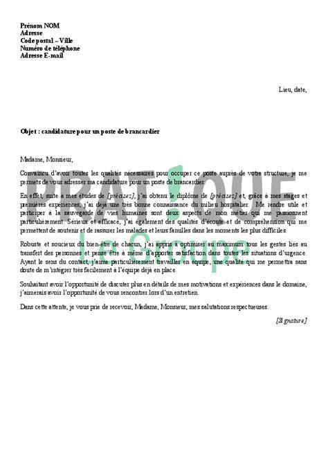 lettre de motivation pour devenir brancardier pratique fr