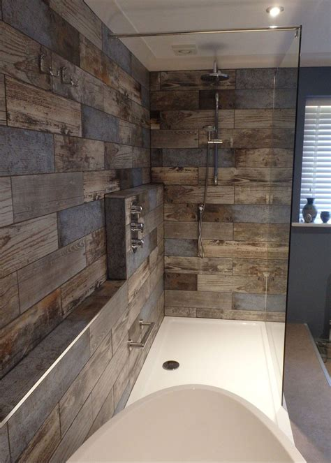 Wood Tiles In Bathroom by Reclaimed Wood Effect Tiles Interior Barn Doors Wooden