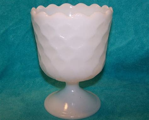 Honeycomb Milk Glass Compote, EO Brody Co.
