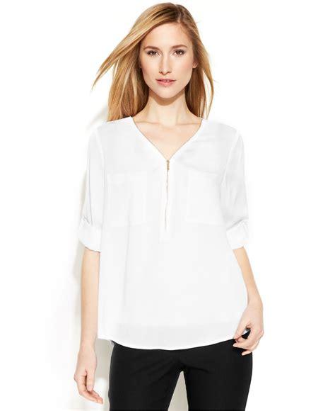 v neck blouses calvin klein sleeve zip v neck blouse in white lyst