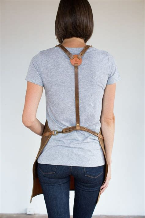 strap apron  rust wax canvas leather blacksmithing