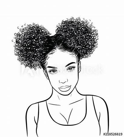Curly Hair Draw Buns Templates Background Vector