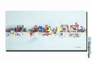 tableau gris moderne ville format horizontal piece unique With couleur peinture moderne pour salon 15 tableau moderne grand format rectangle gristableau