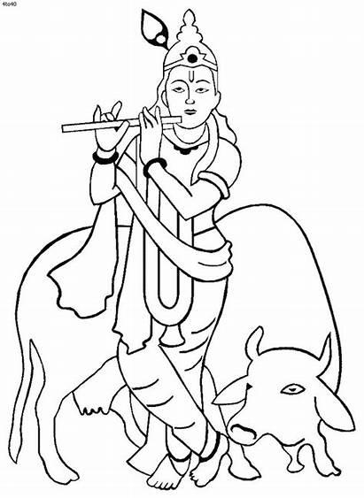 Krishna Drawing Coloring Janmashtami Pages Shri Holi